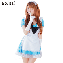 GZDL Women France Japan Beer Maid Outfit Uniform Cosplay Costume Halloween Fancy Pleated Dress Sexy Babydoll Underwear SY4164