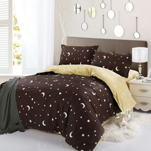 Designer Brand Moon Star Queen Bedding sets  Deep Coffee Color Duvet cover Bed Linen 4 pcs 100% Cotton Wholesale Price