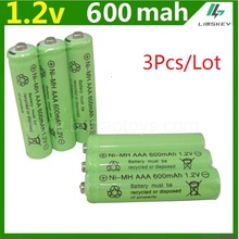 3psc/lot 1.2v 600mah AAA remote control toy rechargeable Ni MH rechargeable battery AAA 1.2V 600mAH free shipping