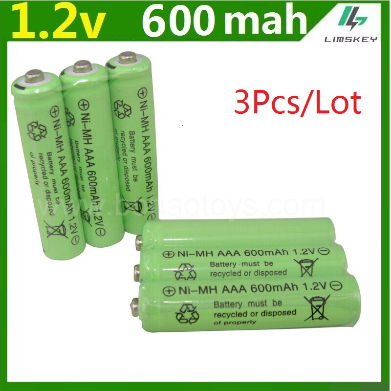 3psc/lot 1.2v 600mah AAA remote control toy rechargeable Ni MH rechargeable battery AAA 1.2V 600mAH free shipping(China (Mainland))