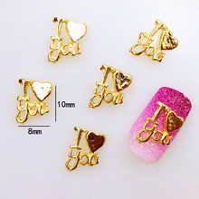"10Pcs/Lot 8*10mm Gold Letter ""I love you"" 3D DIY Design Metal Alloy Nail Art Decorations Nail Stickers Jewelry Accessories"