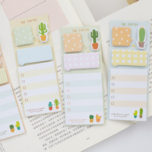 4 Pack/lot Kawaii The Cactus Plan List Memo Pad N Times Sticky Notes Escolar Papelaria School Supply Bookmark Post it Label