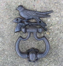 2 Pieces Cast Iron Bird Novelty Door Knocker with Hanging Ring Handle Home Decor Doorknocker Free Shipping(China)