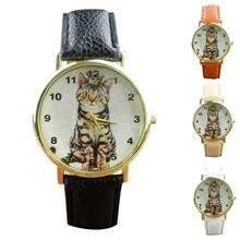 2015 New Hot Sale Fashion Casual summer style Geneva Neutral Diamond Lovely Cats Face Faux Leather Quartz Watches(China)