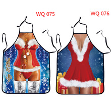 2017 Funny Printed Personality Aprons Christmas Santa Anime Cartoon Sex Lady Cooking Apron Creative Character Series
