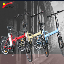 JS Mini Folding Electric Bike 250W 10Ah Lithium Battery Brushless Hub Rear Motor 6 Speed Gear Two Seat Foldable e bicycle Unisex