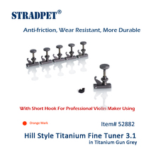 STRADPET Hill Style Titanium FineTuner 3.1 in Gun Gray For Professional Violin Makers, Violin Accessories, Orange Mark