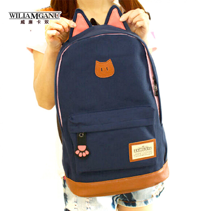 WILIAMGANU Fashion Campus Girls Backpack Women Travel Bag Young Men Canvas Backpack Brand fashion school Bags Cat ears Bags<br><br>Aliexpress