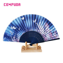 Flowers Chinese Hand Paper Fans Pocket Folding Bamboo Fan Wedding Party Favor u70707