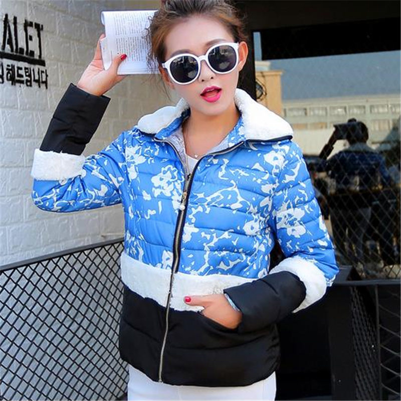 2015 New Contrast Color Female Girls Printing Fashion Jacket Womens Short Warm Winter Down Cotton Padded Parkas Coat WY304Одежда и ак�е��уары<br><br><br>Aliexpress
