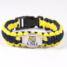 LSU Tigers Paracord Bracelet NCAA Football Bracelet Survival Bracelet ,Drop Shipping ,19 Color Can Choose