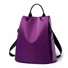 Korean Female Nylon Shoulder Bag Oxford Cloth Canvas Backpack Fashion Purple Backpacks Lady Mochilas Para Chicas Adolescentes