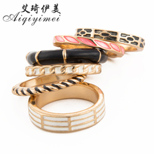 Aiqiyimei New 6 PCS Vintage Punk Geometric Drops of oil Ring Sets Fashion Boho Finger Rings For Women/Men Jewelry Birthday Gift
