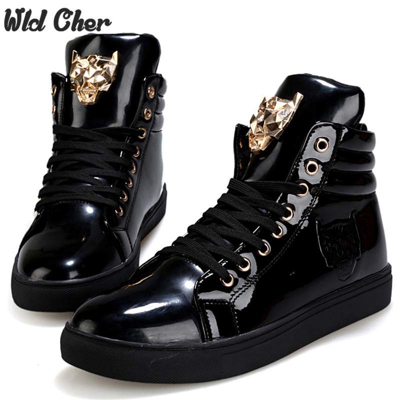 Men Tiger Punk Boots High-top Solid Color Mens Hip-hop Shoes White Lace up Patent Leather Boots Black<br>