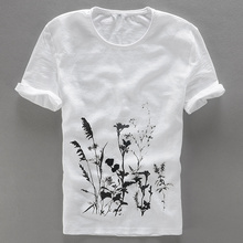 Creative simple t-shirt men flax modern traditional t shirt mens O-neck flowers printed fashion men t shirts brand short tshirt