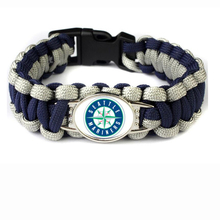 Seattle Baseball Team Mariners Paracord Survival Friendship Outdoor Camping Sports Bracelet Navy Blue Silver