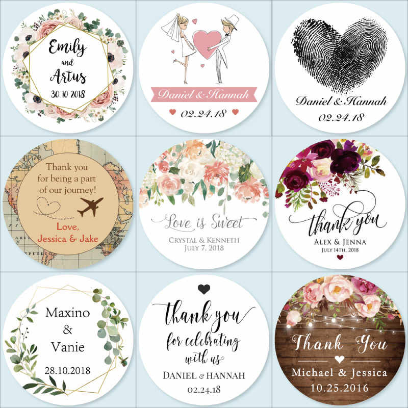 100, Customized Add Your Names and Date, Wedding Stickers, Invitations Seals, Candy Favors Gift Boxes Labels, On White Adhesive
