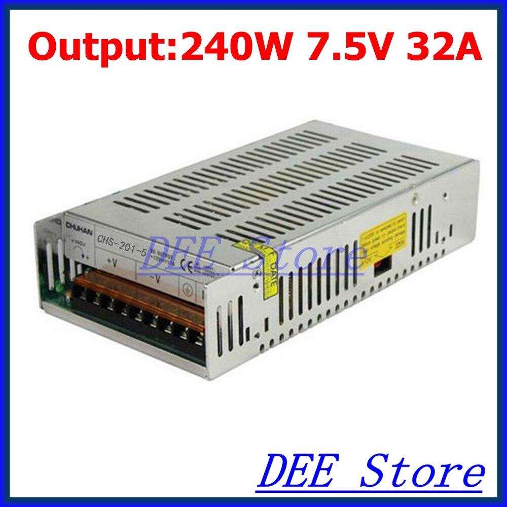 240W 7.5V(6.75V~8.25V) 32A Single Output Adjustable Switching power supply unit for LED Strip light Universal AC-DC Converter<br>