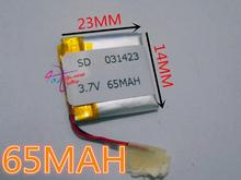 best battery brand 10 PCS  3.7V lithium Tablet polymer battery 031423 301423 65mah MP4 GPS MP3 Toy Battery