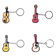 The New Style Use Soft Plastic Creative Instrument Keychain Folk / Electric / Classical Guitar / Ukulele Bags Pendant Keychain(China)
