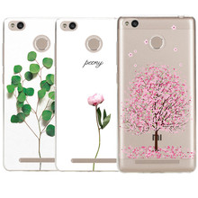 The most popular new plant pattern Transparent Soft Silicone soft Cover Coqur For Redmi 3 3S 4A 4 4S Note 3 Note 4 Cases luxury