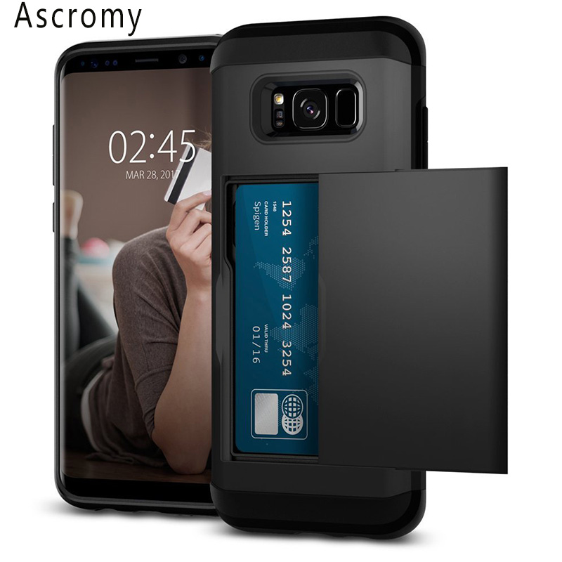 Ascromy Slim Armor CS For Galaxy S8 Case Dual Layer Wallet Design Card Slot Holder Cover for Samsung S8 Accessories galaxys8(China (Mainland))