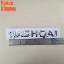 Forten Kingdom Car 3D Letter Emblem Badge Tail Sticker Decal For Nissan Qashqai Chrome Silver 195x24mm Rear Decal Nameplate