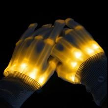 Pair of LED Lighting Gloves Flashing Fingers Rave Gloves Colorful Gloves for Light Show (Yellow)(China)