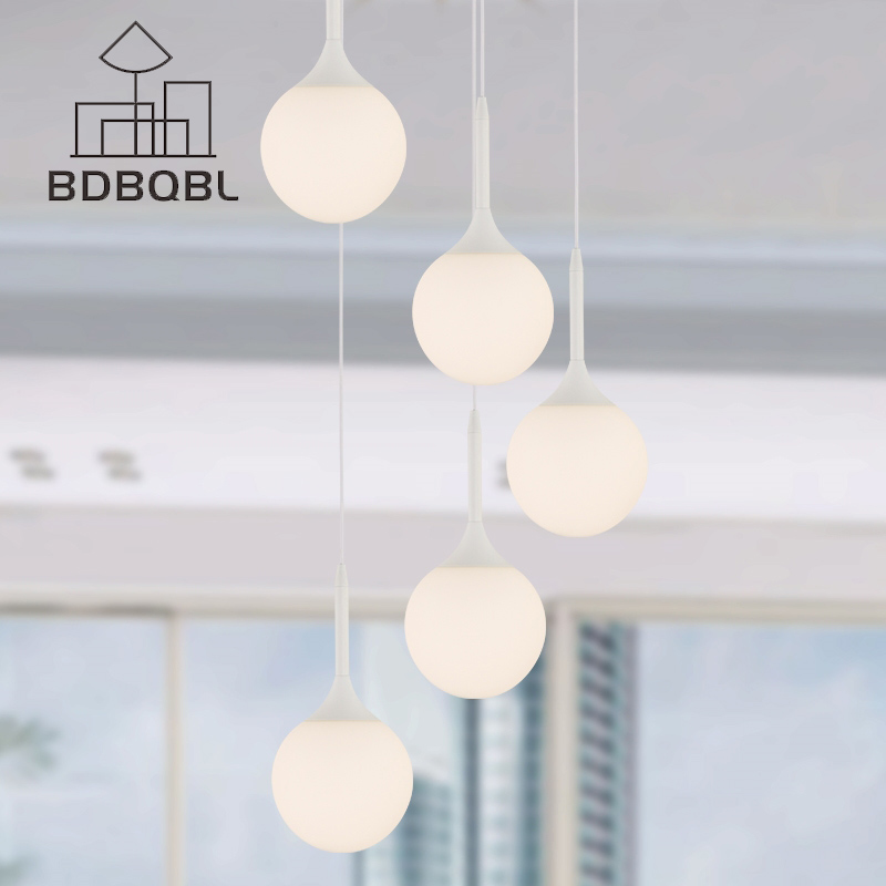 BDBQBL Milk Globe Glass Shade Pendant Lights LOFT Lampada Led Lamp For Bar Restaurant Decorative Hanging Pendant Lamp Fixtures<br>