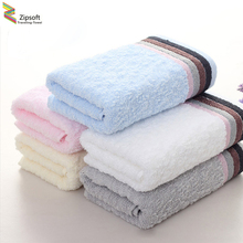 Zipsoft 3PCS 100% Cotton 74*34cm White Blue Pink Hotel Bath Towels Absorbent Antibacterial  Beach Spa Towel Soft  Hair Towel