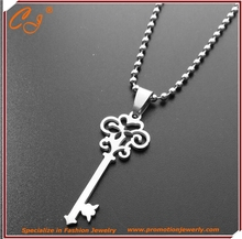 Korea Men's Fashion Jewelry stainless Steel Necklace Silver Key Pendant For Women Sweater Chain Hot Necklace Charm