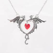 2 Fly Dragons with Heart Pendant Necklace Red Heart Antique Silver Alloy Link Chain Men Women Fashion Jewelry