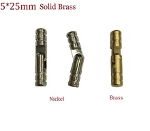 50PCS/LOT 5*25mm Solid Brass Barrel Hinge For Jewelry Chest Gift Wine Music Box Dollhouse Cabinet