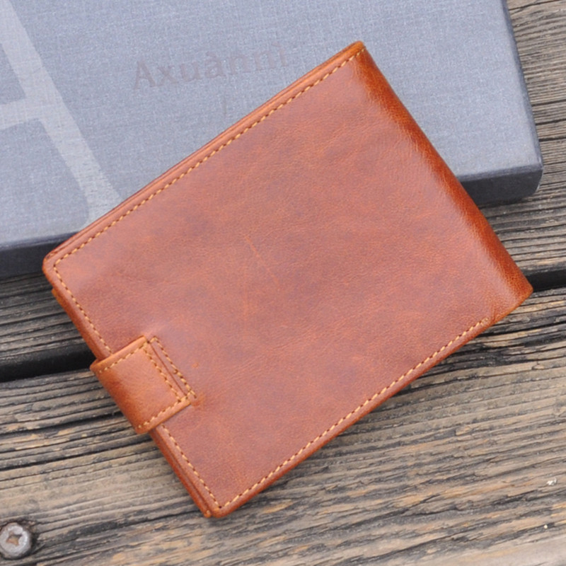 NEWEEKEN 5001 Retro Genuine Leather Oil Cowhide Buckle Short Thin Buckle Slight Cash Money Coin Card Photo Wallet Purse for Man<br>