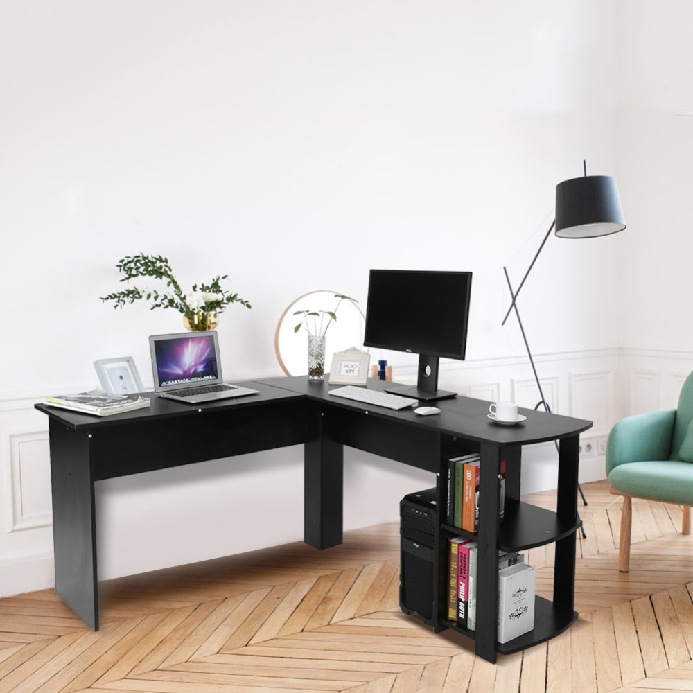 Utility Wooden Office Computer Writing Desk Home Gaming PC Furnitur L-Shape Corner Study Computer Table With Book Shelf(China)