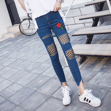 Spring summer fashion new elastic denim pants skinny leggings decal nets holes jeans women rose embroidery crooped jeans