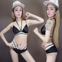 2017 new fashion women costume black suit Bar DS Costume DJ female sexy singer performing service club dance wear bikinis(China)