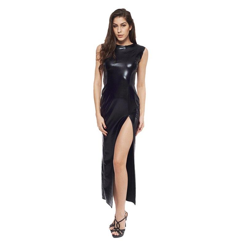 Sexy Fetish Black Vinyl Leather Bodysuit Lingerie Dress Erotic Bondage Latex Long PU Dress and Gloves Clubwea 4