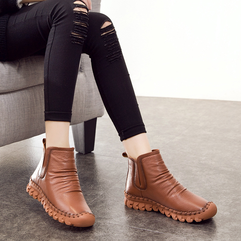2017 New Autumn Winter Fashion Genuine Leather Leather Casual Western Zip Short Ankle Boots Comfortable Breathable Boots WM19<br><br>Aliexpress