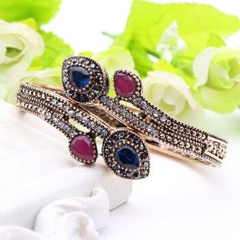 Vintage Women Heart Bracelet Bangle Turkish Resin flower Jewelry Cuff Antique Gold Color Resin Ethnic Bangle Pulseiras Feminino