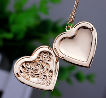 romantic Lovers rose hearts can put photos open and close fashion Pendant love Necklace for women Jewelry N206
