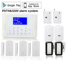 QOLELARM Wireless pstn gsm home security Alarm System kit PIR Infrared Sensor LCD Display door sensor with rechargeable battery