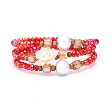 Simulated Pearls Crystal Red Flower Rhinestaone Disco Ball Bracelet for Women Multilayers Fashion Accessory Bracelets & Bangles