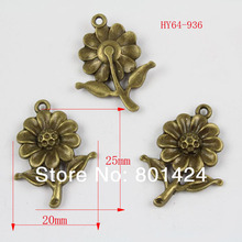 free shipping 30pcs 64-936 antique bronze sunflower  jewelry charm   diy decoration fashion metal beads  jewelry charm