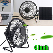 4 Inch Cooling Ventilation Fan USB Solar Powered Panel Iron Fan For Home Office Outdoor Traveling Fishing High Quality(China)