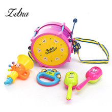 Hot Sale 5pcs Educational Baby Kids Roll Drum Musical Instruments Bands Kit Children Toy Baby Kids Gift Set Fun MusicToy
