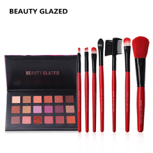 Buy BEAUTY GLAZED Brand Shimmer Eyes Makeup Eyeshadow 18-Color Red Color Makeup Brushes 7pcs/lot brush tools bag Makeup Set for $8.82 in AliExpress store