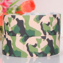 "5 yard 1""(25mm) green black camouflage printed cartoon tape DIY handmade hairbow grosgrain ribbon free shipping"