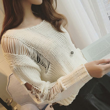 sweater women jumpers women's fashion news Hitz waist short hole hollow long sleeved Pullover Sweater sweater blouse in summer(China)
