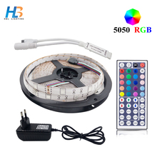 4M 5M 8M 5050 led strip light RGB Waterproof 10M RGB led strip tape diode feed lampada +dc 12V adapter+44key controller full set